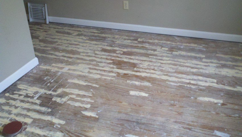A beat up wood floor