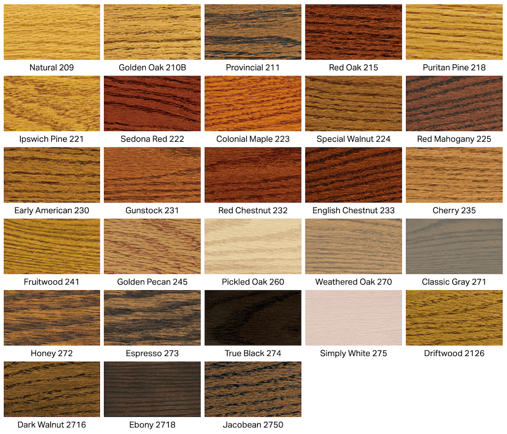 different color stains for different types of wood
