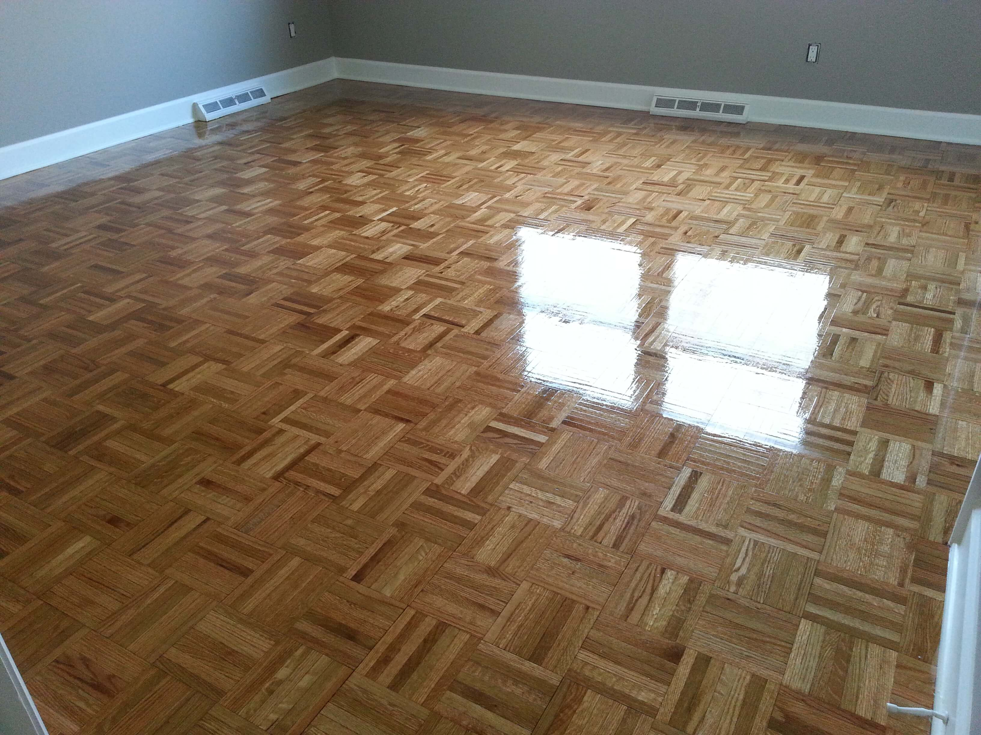 A refinished parquet hardwood floor