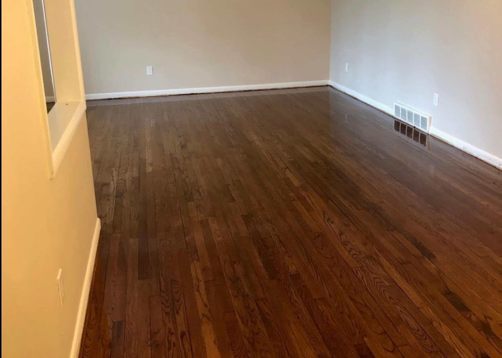 Freshly repaired and refinished hardwood floor
